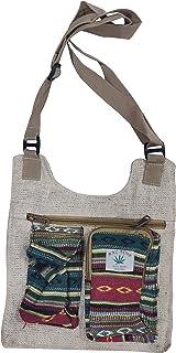 Eureka Hipie Jute Hemp Bag Boho Bohemian Psychedelic Handmade Organic Fabric Jaipur Handicraft Sling Bag (Off-White)