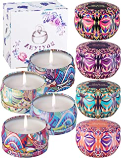 Ahyiyou Scented Candles for Women Aromatherapy Fragrance Stress Relief Candle,Natural Soy Wax Portable Travel Tin Candle, Set Gift of 8