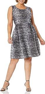 Star Vixen womens Plus-Sz Classic Str Ponte Knt Slvlss Box-Plt FitnFlare Dress Dress