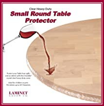 LAMINET - Plastic Elastic Fitted Table Cover Protector - Clear - Small Round - Fits Tables up to 44