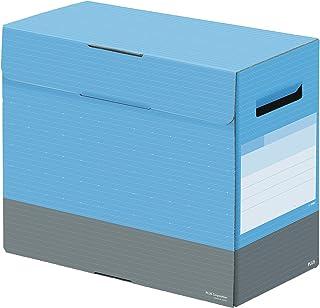 プラス ファイルボックス フタ付き A4横 背幅150mm デジャヴ スカイブルー 76-451