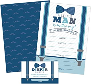 Little Man Baby Shower Invitations, Boy Baby Shower Invites with Diaper Raffles Cards, Bow Tie and Mustaches, Sprinkle, 20 Invites Including Envelopes