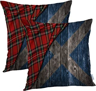 Batmerry Checkered Pillow Covers 18x18 Inch Set of 2, Tartan Wooden with Scotland Flag Scotland Tartan Scottish Flag Double Sided Decorative Pillows Cases Throw Pillows Covers
