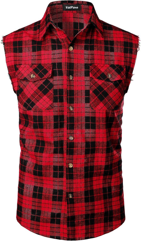 VATPAVE Mens Casual Plaid Sleeveless Shirt Front Pocket Button Down Vest