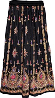 Maple Clothing Women's Indian Long Skirts Sequins Ankle Length India Clothes (Black)