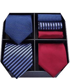 HISDERN Lot 3 PCS Corbata de hombre Compruebe Polka Dot Stripe Color Solido Corbata del panuelo del banquete de boda & Poc...