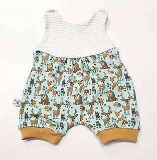 Atelier MiaMia Atelier MiaMia - Sommerstrampler oder Set Baby Kind von 50, 56, 62, 68, 74, 80 Designer Strampler/Set Limitiert Waldtiere Senf