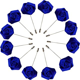Sanrich Rose Boutonniere Men's Lapel Pins Satin Flower 12 Pack Groom Wedding Boutonniere Suit Brooch Outfit Accessories