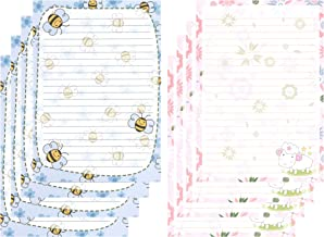 IMagicoo 50 Cute Design Writing Stationery Lined Paper Pad Letter Set, 2 Different Style (Style-2)