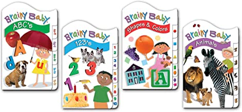 Brainy Baby Board Book Set of 4 ABCs,123s, Animals, Shapes and Colors Classic Tab