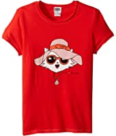 Karl Lagerfeld Kids - Short Sleeve Tee w/ Choupette Print & Gold Lurex Stitch (Big Kids)