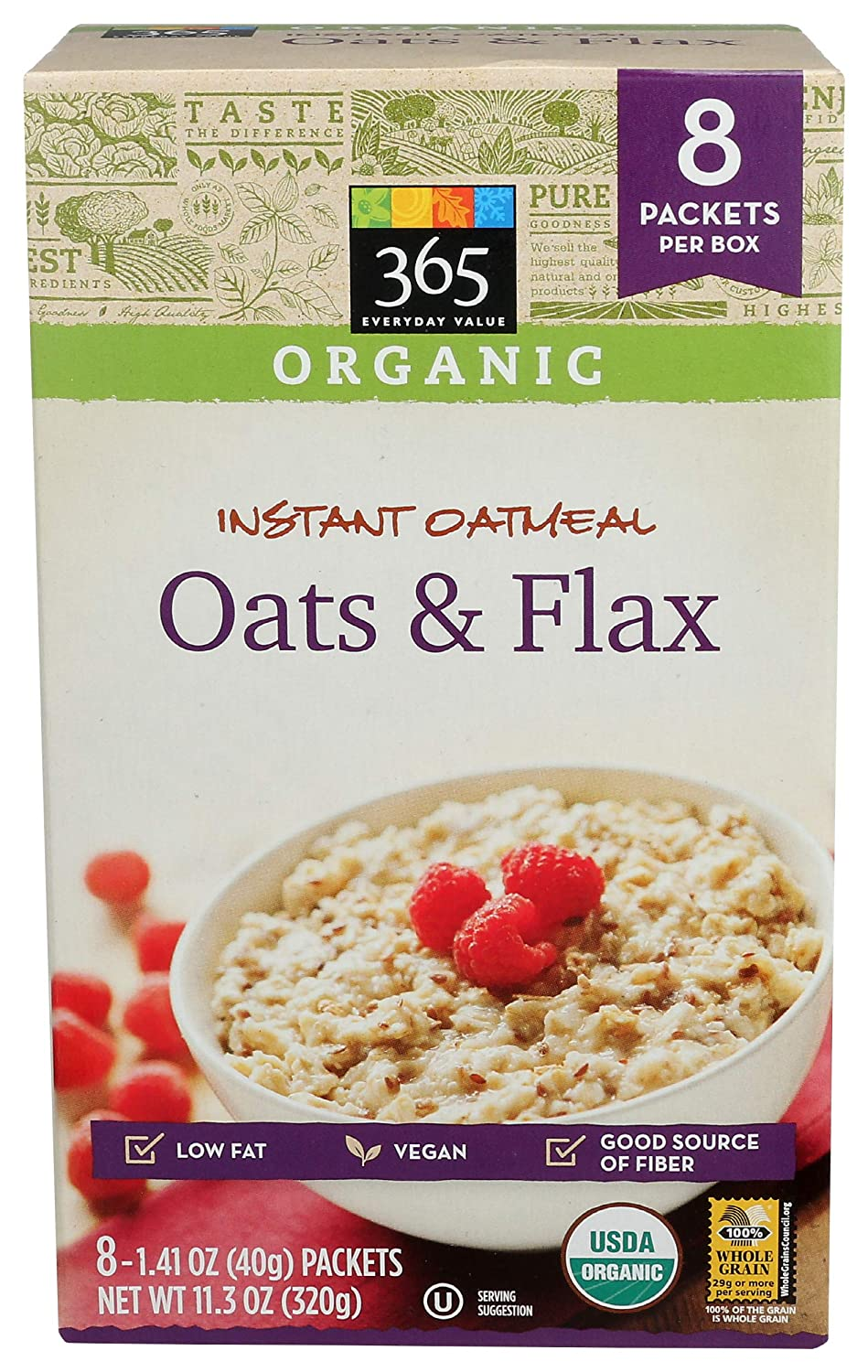 365 Everyday famous Value Organic Instant Flax Recommendation Oatmeal 11.3oz Oats