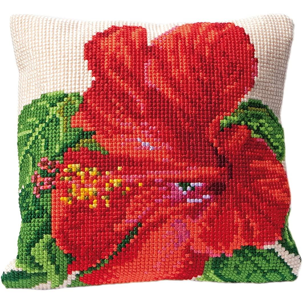 Thea Gouverneur Hibiscus Cushion Stitched in Floss Tapestry Kit, 15.75 x 15.75