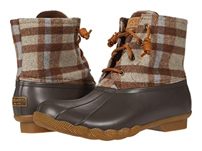 Sperry Saltwater Plaid Wool (Brown/Oat) Women