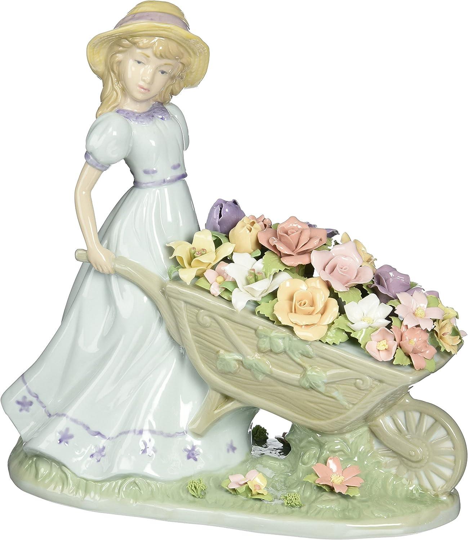 Cosmos 96491 Girl Pushing Flower Cart Ceramic Figurine, 8-1/4-Inch: Home & Kitchen