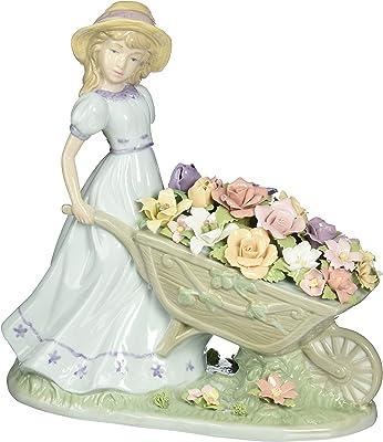Cosmos 96491 Girl Pushing Flower Cart Ceramic Figurine, 8-1/4-Inch