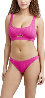 BCBGeneration Women's Sports Bralette Swimsuit Top with Scoop Neck