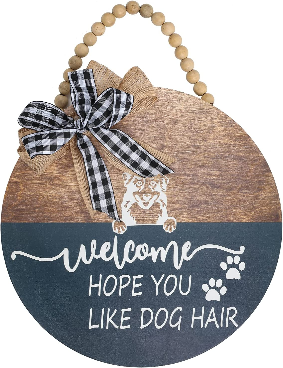 """HOMCDALY Welcome Sign for Front Porch Decor Farmhouse Front Door Decor Rustic Wooden Wall Sign """"We Hope You Like Dogs Hair"""" Hanger Wreath with Bow and Bead, Outdoor Welcome Porch Decorations(Dog)"""