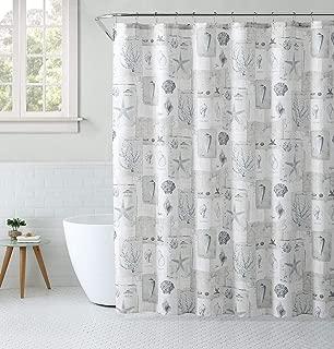 Seaside Villa Shabby Nautical Coastal Seashells Coral & Maps Beige & Gray Fabric Shower, Curtain & Hooks Set for Bathroom