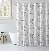Shabby Nautical Coastal Seashells Coral & Maps Beige & Gray Fabric Shower Curtain & Hooks Set for Bathroom