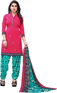 TreegoArt Fashion Women's Crepe Floral Printed Unstitched Salwar Suit Dress Material -(Free Size) Pink