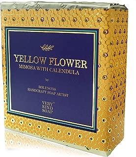Rolencos handmade castile soap bar, sensitive skin care, bath soap for face and body (Yellow Flower (Mimosa & Calendula))