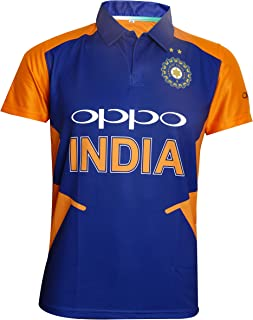 Team India Away Jersey Half Sleeve Cricket Supporter T-Shirt New Orange Team Uniform Polyster Fit Material 2019-20
