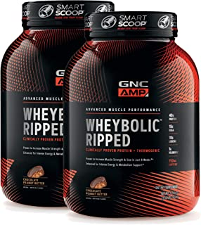 GNC AMP Wheybolic Ripped Whey Protein Powder - Chocolate Peanut Butter, Twin Pack, 22 Servings Each, 40 Grams of Protein