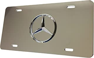 Mercedes Benz Chrome Logo on Mirror Chrome Stainless Steel Front License Plate with Caps CLA CLS C E S SL SLK GL