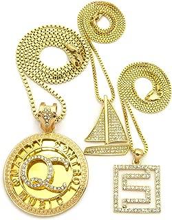 Stone Stud QC Initials, Sailboat & Maze Pendant Set w/Box Chain Necklaces, Gold-Tone