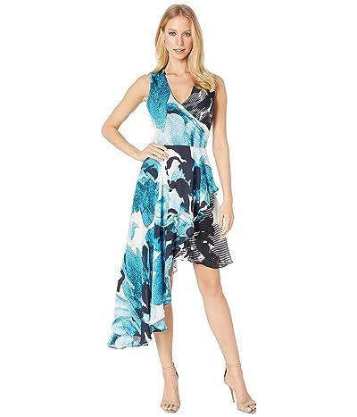 Nicole Miller Watercolor Bloom Asymmetrical Dress (Blue Multi) Women