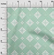 oneOone Velvet Mint Green Fabric Floral & Tiles Moroccan Sewing Craft Projects Fabric Prints by Yard 58 Inch Wide