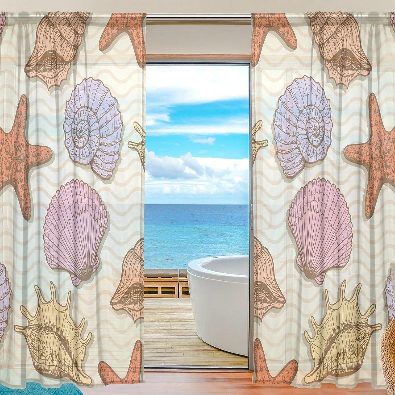 Vantaso Sheer Curtains 78 inch Long Original Hand Drawn Shell Sea Star for Kids Girls Bedroom Living Room Window Decorative 2 Panels