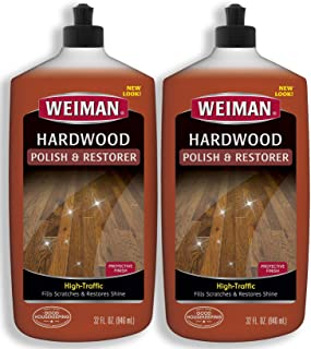 Weiman Wood Floor Polish and Restorer 32 Ounce (2 Pack) - High-Traffic Hardwood Floor, Natural Shine, Removes Scratches, L...