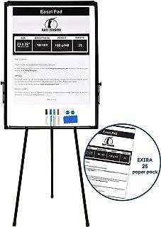 Rotafolios/ Flipchart Set - 100x70cm Grande Pizarra Blanca Magnetica con Caballete de Tripode + 1 Borrador Magnetico, 4 Rotuladores, 2 Imanes y 1 Paquete de Papel de 25 Unidades de 58x81cm