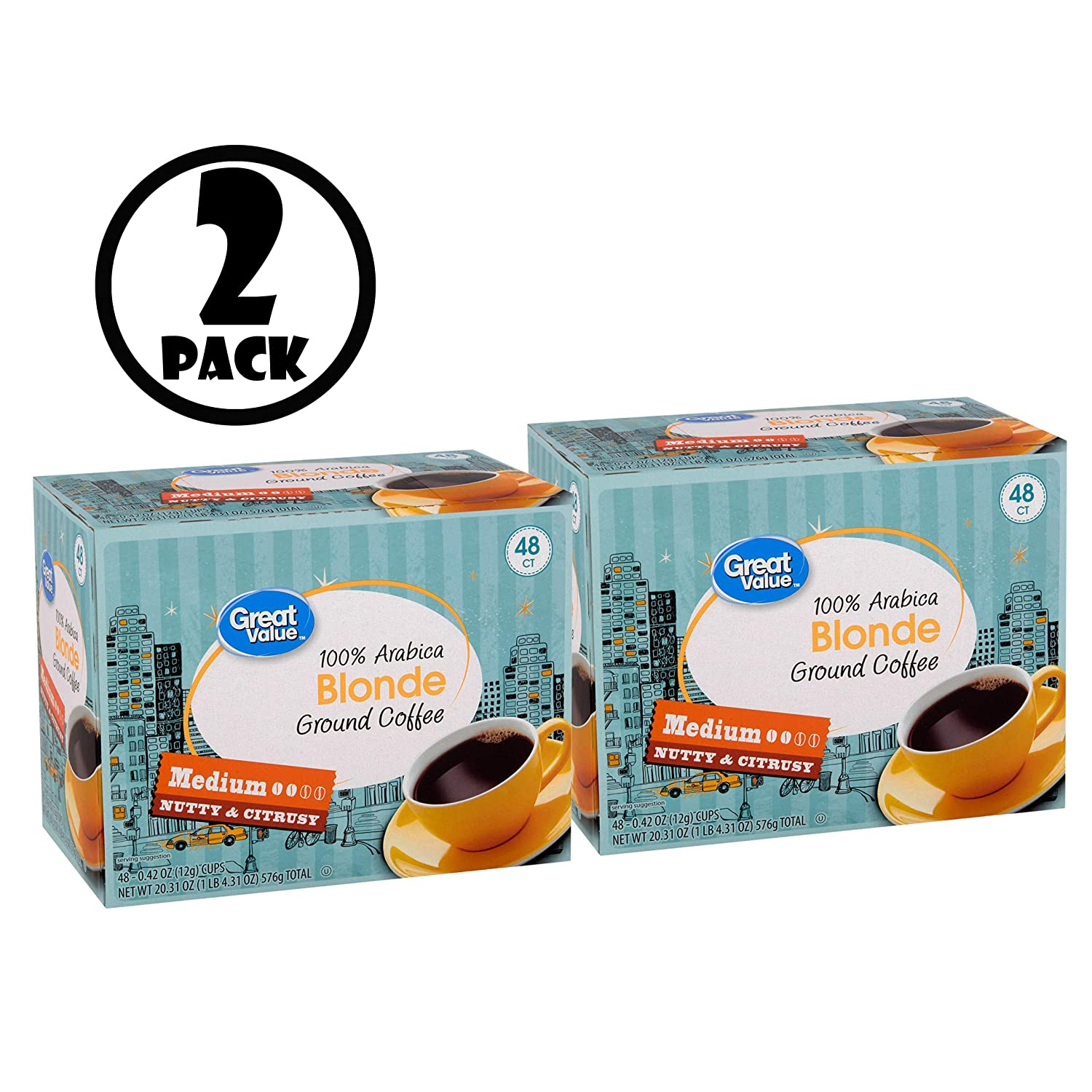 Pack of 2 Austin Mall Great Value 100% NEW before selling Coffee Arabica Pods Medium Blonde