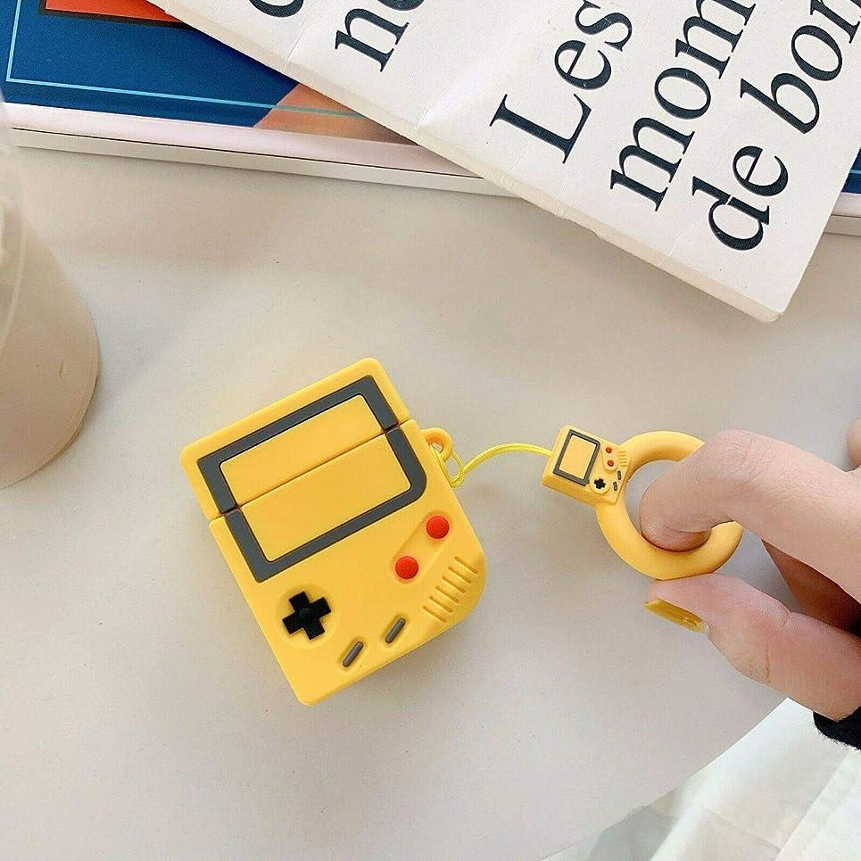 サージスタック改善ACHICOO 保護ケース 充電ケース イヤホンケース シリコンケース ゲームボーイ AirPods用 Apple AirPods用 黄