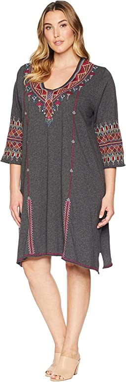 Plus Size Marjan 3/4 Sleeve Drape Tunic Dress