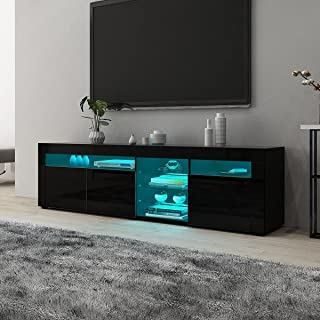 TV Cabinet Stand Entertainment Unit Storage Wood 3 Doors & Open Shelves High Gloss Front with RGB LED Light Black 180cm