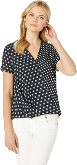Short Sleeve Graphic Foulard Geo Wrap Front Blouse