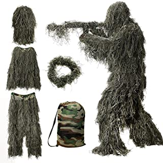 MOPHOTO 5 in 1 Ghillie Suit, 3D Camouflage Hunting Apparel Including Jacket, Pants, Hood, Rifle Wrap, Carry Bag Suitable for Unisex Adults/Kids/Youth (M/L/XL/XXL)