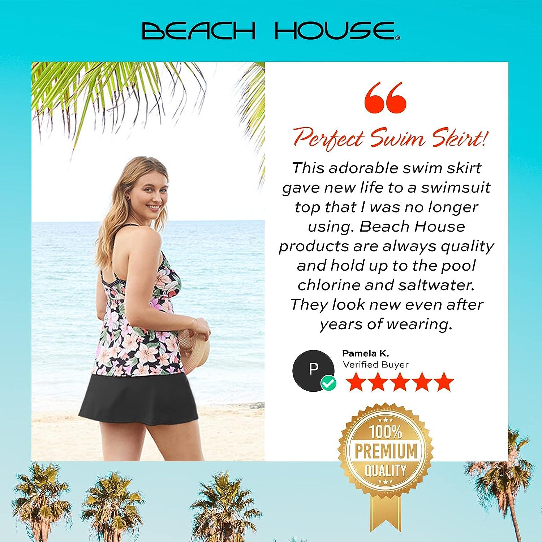 BEACH HOUSE Pull On Swim Skirt — Full Coverage Bikini Bottoms with Swimsuit Skirt, Plus Size Charlotte