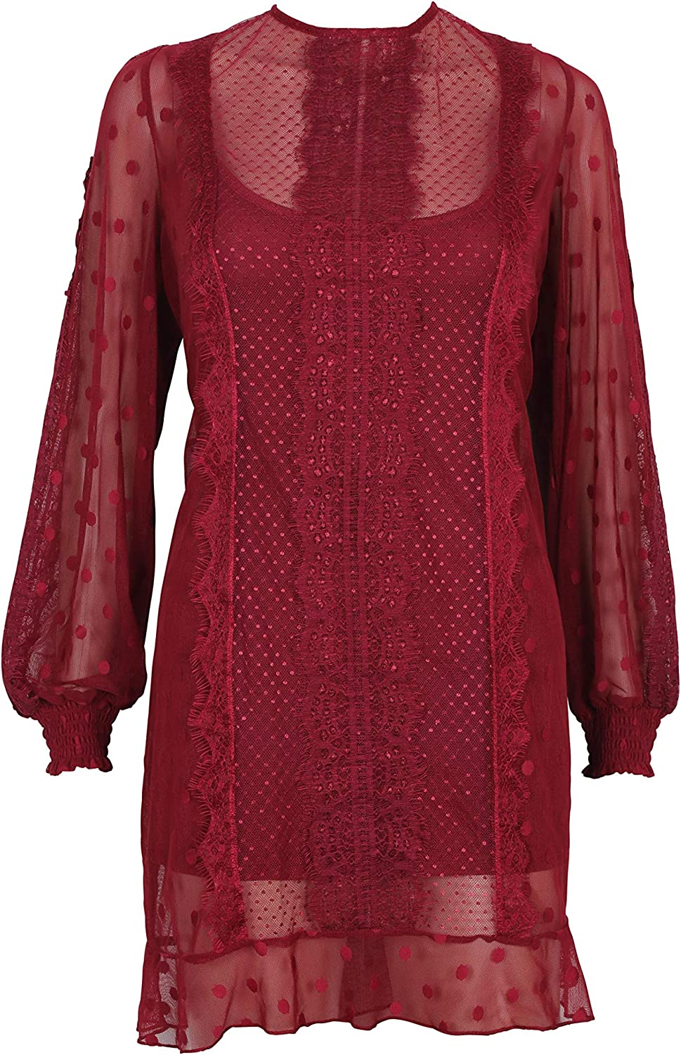MINKPINK Women's Layla Lace Mini Dress, Burgandy