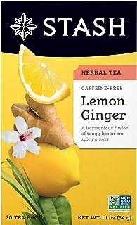 Stash Tea Lemon Ginger Herbal Tea, Premium Herbal Tisane, Citrus-y Warming Herbal Tea, Enjoy Hot or Iced, 20 Count
