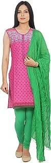 Rama Women's Cotton Pink Printed Kurta and Green Legging & Dupatta