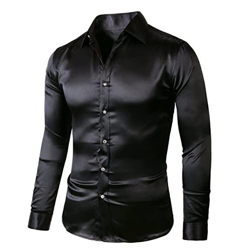 716de69954a1bb ZERDSKY Men's Regular-Fit Solid Color Dance Prom Dress Shirt