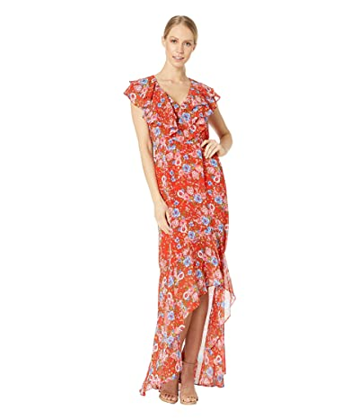 WAYF Levani Ruffle Neck Midi Dress (Red Ditsy Floral) Women
