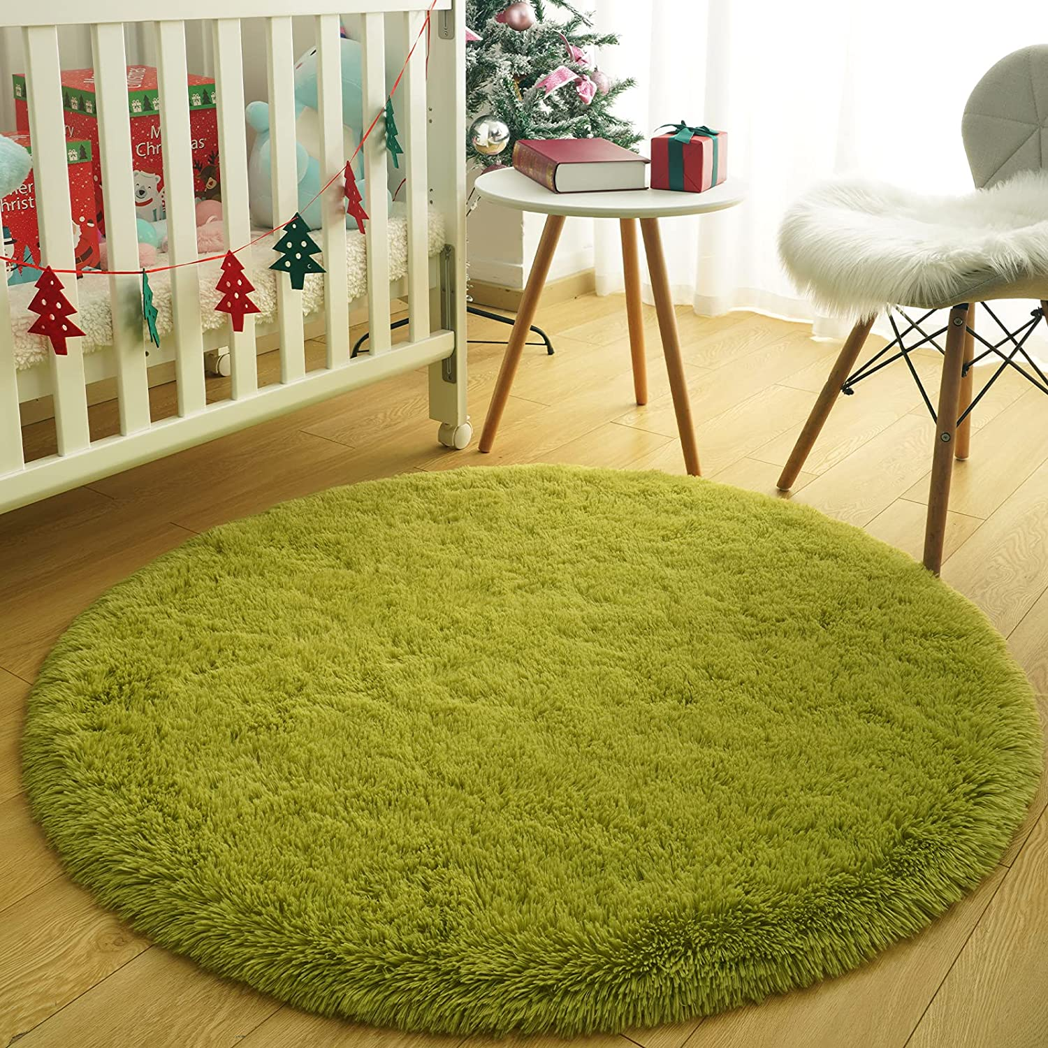 Flagover Green Excellent Round Rug for Bedroom Max 80% OFF Soft 4'x Circle Fluffy