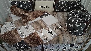 Woodland Barn wood Rustic 1 to 4 Piece baby boy nursery crib bedding,Personalized,Quilt with deer hide minky back,bumper,bed skirt,crib sheet,Dark grey Buck head,Arrow,Black,Grays,browns,whites