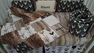 Woodland Barn wood Rustic 1 to 4 Piece baby boy nursery crib bedding,Personalized,Quilt with deer hide minky back,bumper,bed skirt,crib sheet,Dark grey Buck head,Arrow,Black,Grays,browns,whites